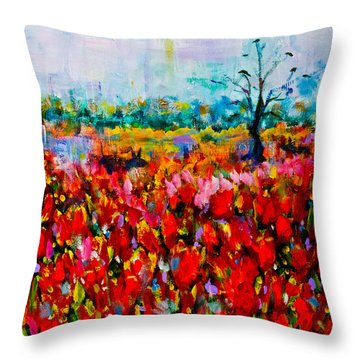 A Field Of Flowers # 2 Throw Pillow