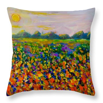 A Field Of Flowers #1 Throw Pillow