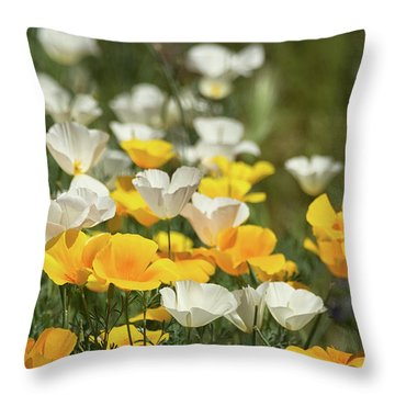 Throw Pillow featuring the photograph A Field Of Golden And White Poppies  by Saija Lehtonen