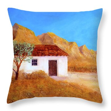 Throw Pillow featuring the painting A Finca In Spain by Valerie Anne Kelly