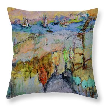 A Fine Day For Sailing Throw Pillow by Sharon Furner