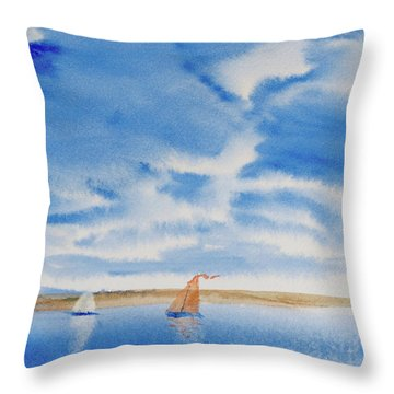 A Fine Sailing Breeze On The River Derwent Throw Pillow
