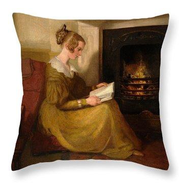 A Fireside Read Throw Pillow