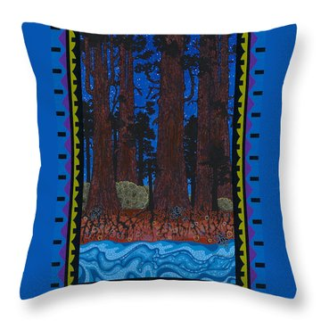 Throw Pillow featuring the painting A Forest Whispers by Chholing Taha