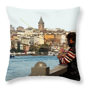 A Fisherman In Istanbul Throw Pillow
