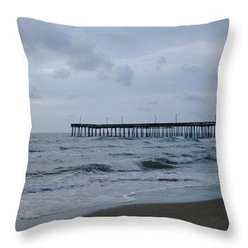 A Fishing Pier At Dawn Throw Pillow