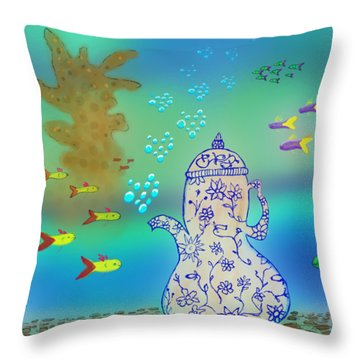 A Fishy Tea Pot Throw Pillow