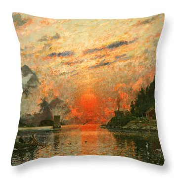 A Fjord Throw Pillow by Adelsteen Normann