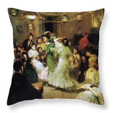 A Flamenco Party At Home Throw Pillow by Francis Luis Mora