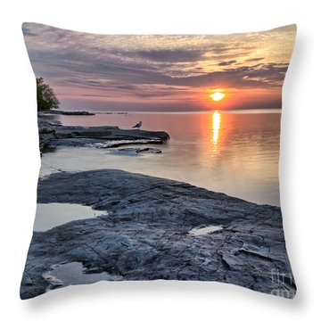 A Flat Rock Sunset With Seagull Throw Pillow