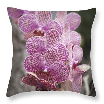 A Flight Of Orchids Throw Pillow