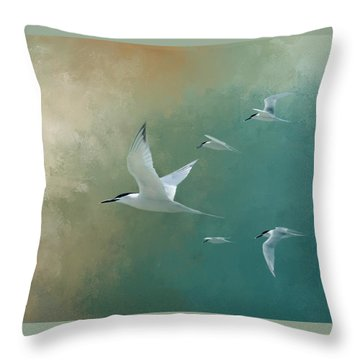 A Flight Of Terns Throw Pillow