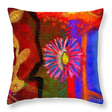 Throw Pillow featuring the painting A Flower For You by Angela L Walker