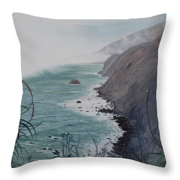 A Fog Creeps In Throw Pillow by Barbara Barber