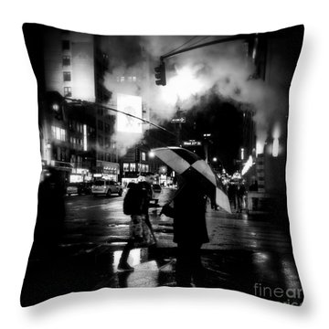 A Foggy Night In New York Town - Checkered Umbrella Throw Pillow by Miriam Danar