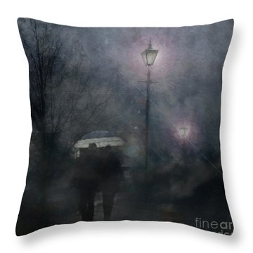 A Foggy Night Romance Throw Pillow