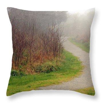 A Foggy Path Throw Pillow