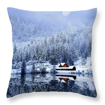 A Foggy Winter Night Throw Pillow by Diane Schuster