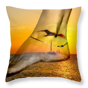 A Foot In The Sunset Throw Pillow