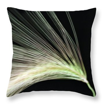 A Foxtail Seed In Flight - Macro Throw Pillow by Sandra Foster