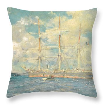 A French Barque In Falmouth Bay Throw Pillow