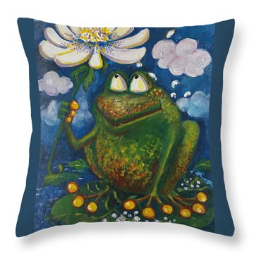Frog In The Rain Throw Pillow by Rita Fetisov