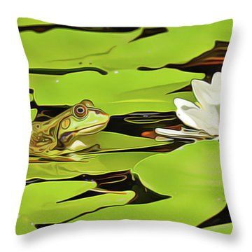 A Frog's Peace Throw Pillow