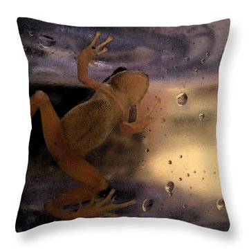 A Frogs World Throw Pillow