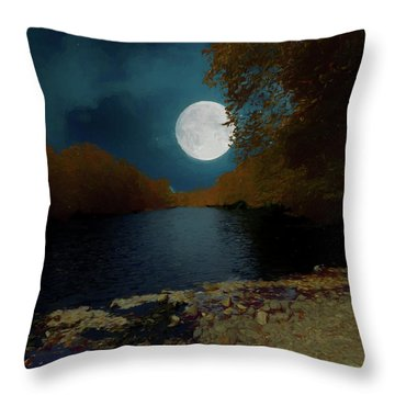 A Full Moon On A River. Throw Pillow