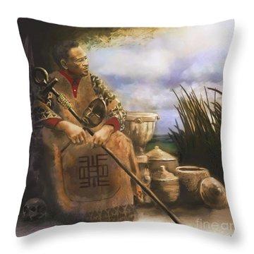 Throw Pillow featuring the digital art A Fundi's Wisdom by Dwayne Glapion