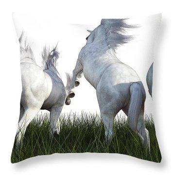 A Furlong Behind Throw Pillow