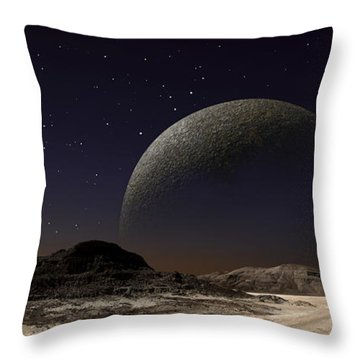 A Futuristic Space Scene Inspired Throw Pillow by Frank Hettick