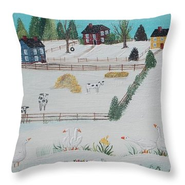 Throw Pillow featuring the painting A Gaggle Of Geese by Virginia Coyle