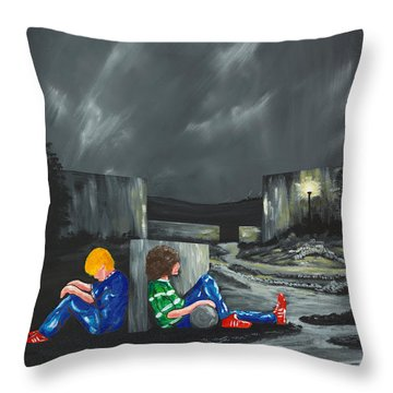 Throw Pillow featuring the painting A Game Of Two Divides by Scott Wilmot
