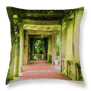 A Garden House Entryway. Throw Pillow