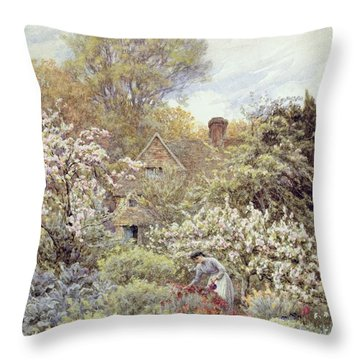 A Garden In Spring Throw Pillow by Helen Allingham