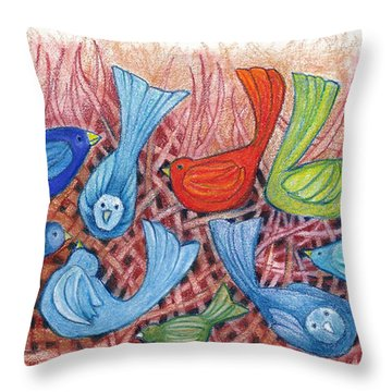 A Gathering Of Friends Throw Pillow by Linda Kay Thomas