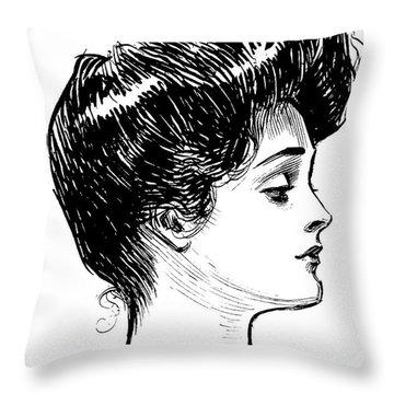 A Gibson Girl, 1902 Litho Throw Pillow
