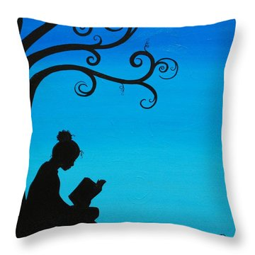 A Girl And Her Book Throw Pillow