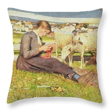 A Girl Knitting Throw Pillow by Giovanni Segantini