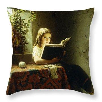 A Girl Reading Throw Pillow