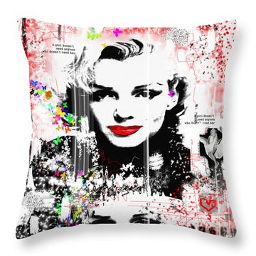 A Girl Throw Pillow by Sladjana Lazarevic