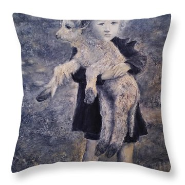 A Girl With A Lamb Throw Pillow