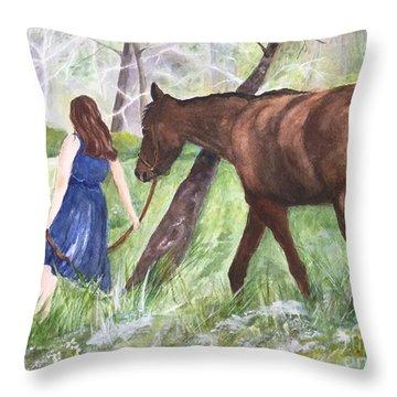 A Girl's Best Friend Throw Pillow