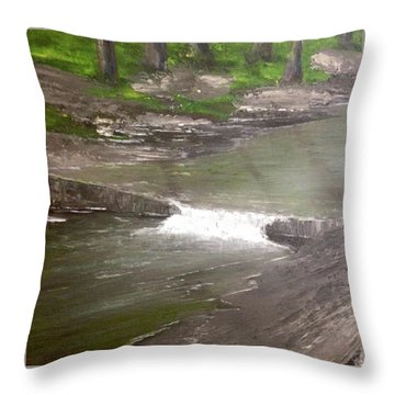 A Glimpse Of A Roadside Park Throw Pillow