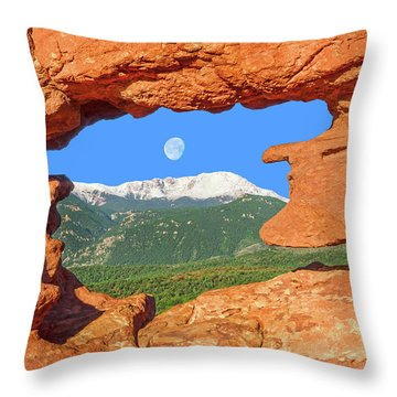 A Glimpse Of The Mighty Rockies Through A Rocky Window  Throw Pillow