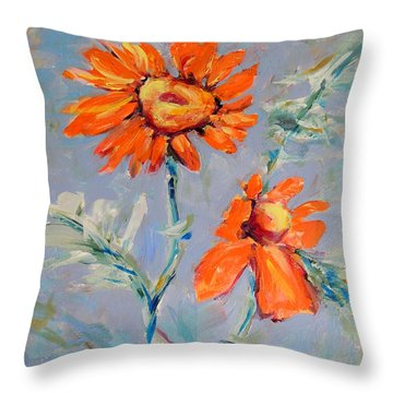 Throw Pillow featuring the painting A Glow by Mary Schiros