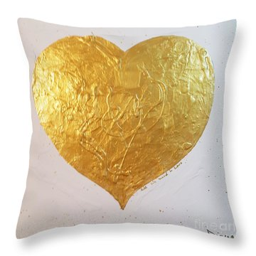 Throw Pillow featuring the painting A Golden Heart by Diana Bursztein