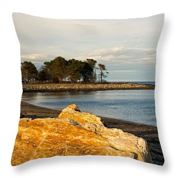 A Golden Rock On The New Hampshire Seacoast Throw Pillow