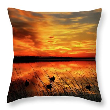 A Golden Sunrise Duck Hunt Throw Pillow
